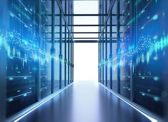 Corridor of  server room 3d illustration with node base programming data  design element.