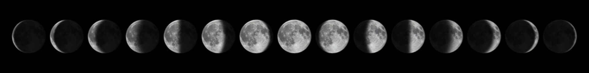 Phases of the Moon. Moon lunar cycle.