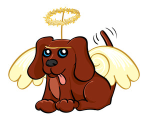 Cartoon Puppy in an angel costume