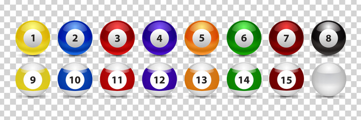Vector set of realistic isolated billiard pool ball for decoration and covering on the transparent background.