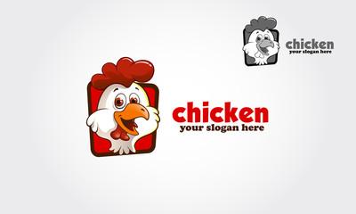 Funny chicken logo. Vector illustration.