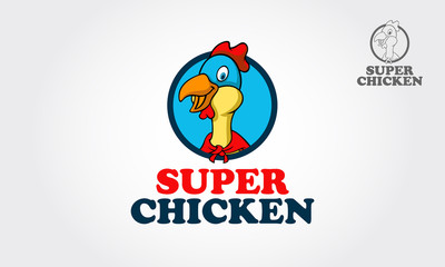 This is a head of chicken hero cartoon try to symbolize some thing fun, cute, happy, heroic, cool, fantasy and other