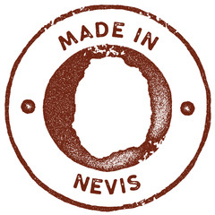 Nevis map vintage stamp. Retro style handmade label, badge or element for travel souvenirs. Red rubber stamp with island map silhouette. Vector illustration.