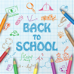Back to school text drawing on paper graph with hand draw doodle school items and elements and color pencils, vector illustration