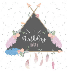 Wall Mural - Pink blue triangle invitation card with feather,flower,leaf,arrow and frame