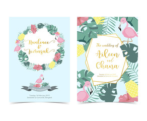 Blue pink invitation card with palm, pineapple,hibiscus,flamingo,banana leaf and flower in summer