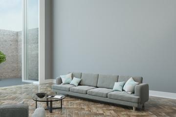empty grey wall in modern apartment