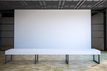 blank white wall in gallery hall