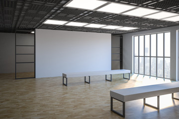 white blank wall in gallery hall