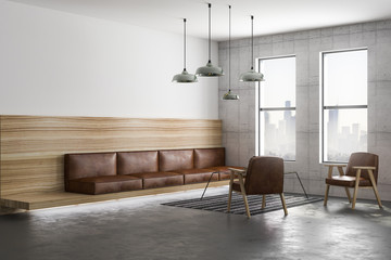 Wall Mural - brown leather sofa in loft room