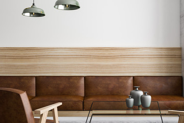 Fototapete - brown leather furniture with wooden framework