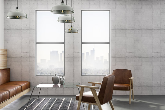 loft room with concrete wall