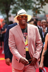 Actor Samuel L Jackson reacts as he arrives at the UK premiere of Incredibles 2 in London