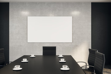 blank poster on concrete wall conference room