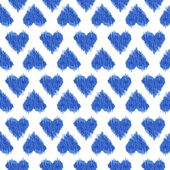 seamless pattern blue heart ikat watercolor on white background, ethnic fashion for textile, illustration