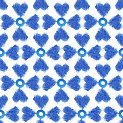 seamless pattern blue ikat watercolor on white background, ethnic fashion for textile, illustration