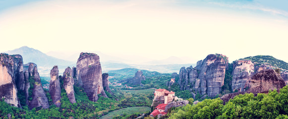 magnificent magical landscape in the famous valley of the Meteora rocks in Greece. Great amazing world. Attractions.