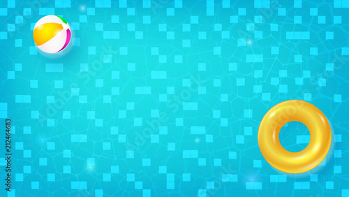 swimming pool beach ball background. Swimming Pool, Top View. Horizontal Pool With Swimming Ring, Beach Ball  Floating In Background F