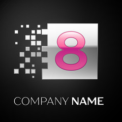 Pink Number Eight logo symbol in the silver colorful square with shattered blocks on black background. Vector template for your design
