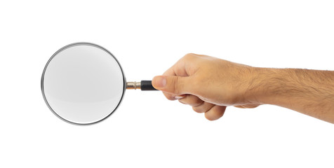 Search concept. Magnifying glass on a hand palm isolated on white background, clipping path