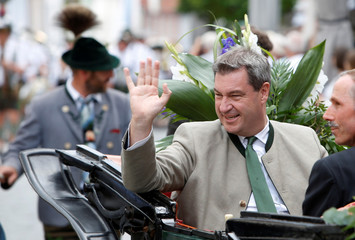 "Bavarian State Prime Minister Markus Soeder attends the traditional parade at ""Gaufest"" in Murnau"