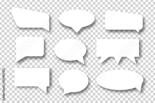 Vector set of realistic isolated speech bubbles for decoration and