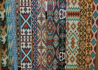 Beaded hat bands in traditional Southwest patterns