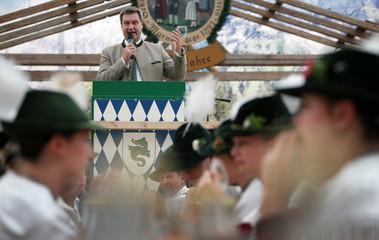 "Bavarian State Prime Minister Markus Soeder holds a speech at ""Gaufest"" in Murnau"