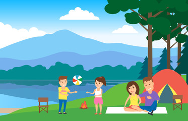camping family resting near the lake summer tourism