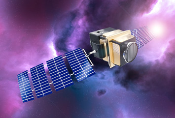 artificial satellite concept 3D rendering in the space purple nebula and sun