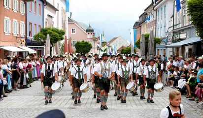 """People in traditional costumes take part in 73rd """"Gaufest"""" parade in Murnau"""