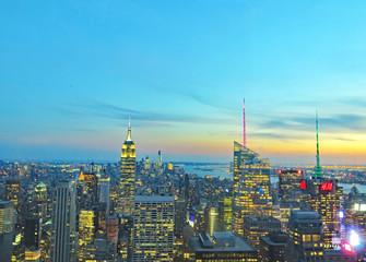 Vistas nocturnas de Nueva York, EE.UU.