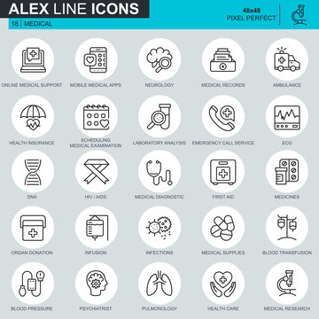 Thin line healthcare and medicine, medical equipment icons set for website and mobile site and apps. Contains such Icons as DNA, Ambulance. 48x48 Pixel Perfect. Editable Stroke. Vector illustration.