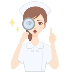 虫眼鏡をのぞく若い看護師 白衣 かわいい フラット イラスト