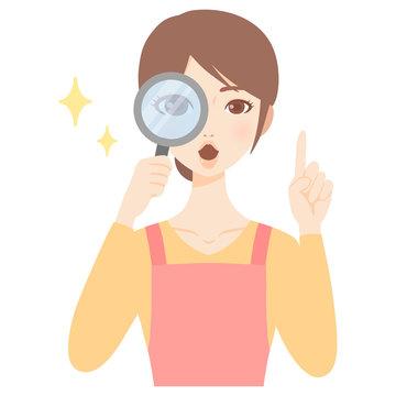 虫眼鏡をのぞく若い主婦 エプロン 美人 フラット イラスト