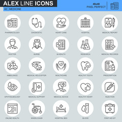 Thin line healthcare and medical icons set for website and mobile site and apps. Contains such Icons as Ambulance, Research, Hospital. 48x48 Pixel Perfect. Editable Stroke. Vector illustration.