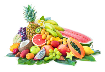 Poster Vruchten Assortment of tropical fruits with palm leaves and exotic flowers