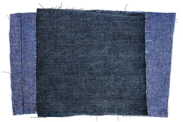 Two piecies of jeans fabric