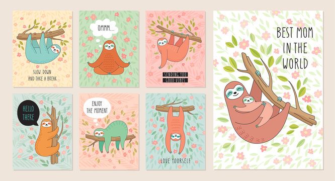 Set of cards with cute hand drawn sloths hanging on the tree. Lazy animal characters.