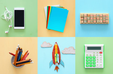 Back to school collage concept. school objects and supply