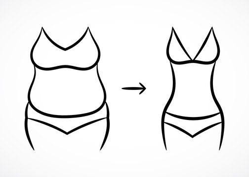 Contour fitness pattern with fat and slim shapes