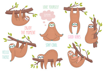 Set of cute hand drawn sloths hanging on the tree. Lazy animal characters.