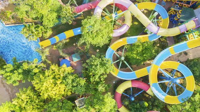 Beautiful water park with colorful water slides
