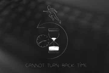 man trying to reverse time by running backward on hourglass and clock with arrow