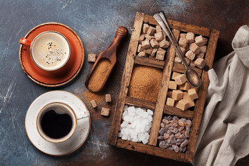 Various brown and white sugar