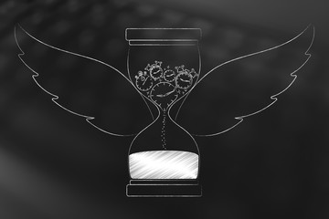 hourglass with wings and group of different clocks melting into sand inside