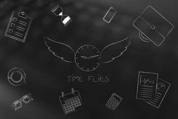 clock with wings surrounded by mixed business objects