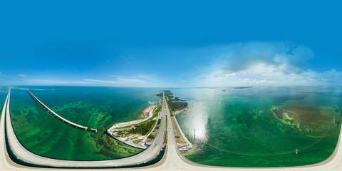 Aerial spherical panorama Overseas Highway Florida Keys