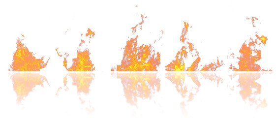 Real fire flames with reflection isolated on white background. Mockup on white of 5 flames.