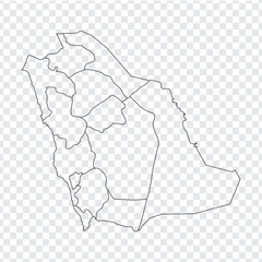 Blank map Saudi Arabia. High quality map of  Saudi Arabia on transparent background.  Map of Saudi Arabia with the provinces. Stock vector. Vector illustration EPS10.